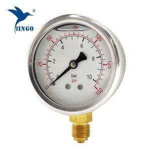 60mm iz nerjavečega jekla, medeninasto povezavo spodnji tip merilnika tlaka 150PSI, napolnjen z oljem